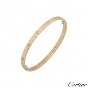 Cartier Rose Gold Plain Love Bracelet SM Size 18 B6047318